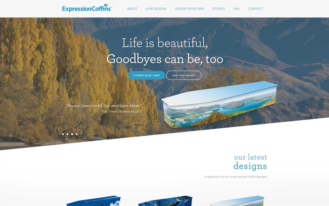 Expression Coffins new website homepage screenshot