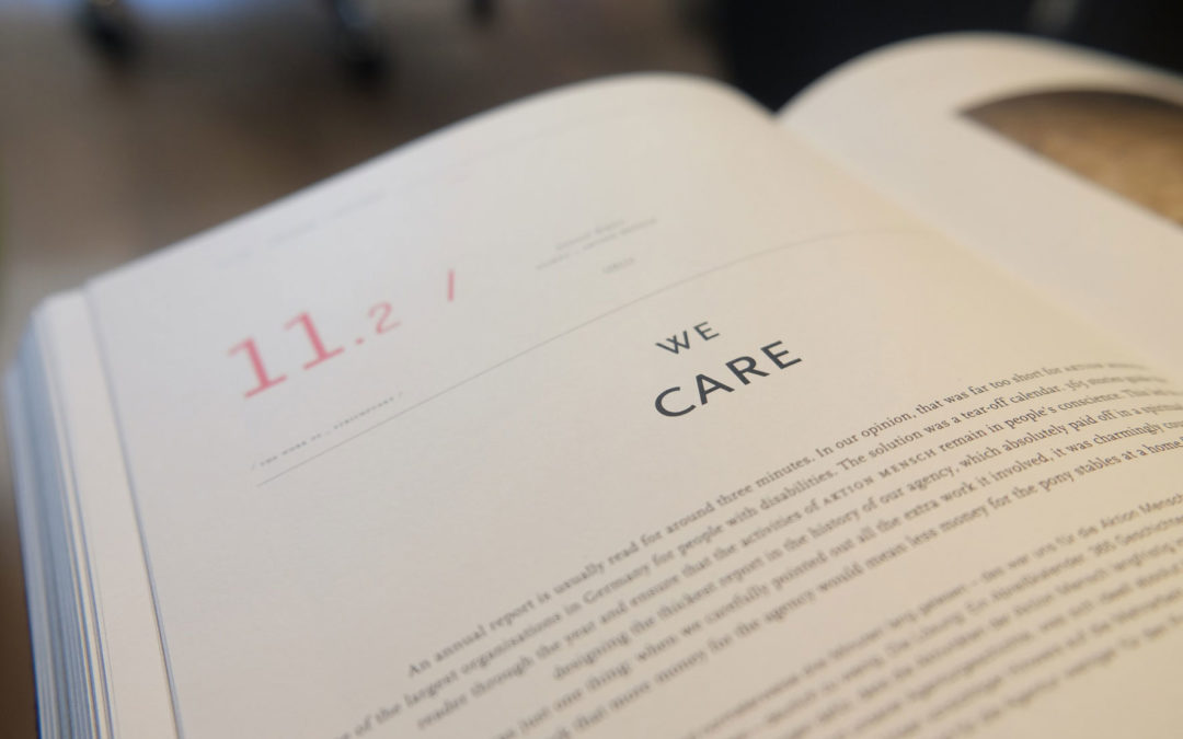 'We care' image of book