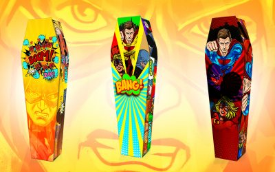 Comic superheroes fly into Expression Coffins